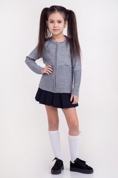 Кофта на молнии однотонная School girl | Серый