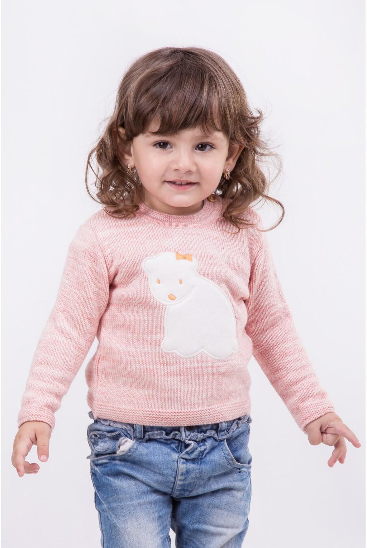 Трикотажный свитер с аппликацией Умка | Розовый
