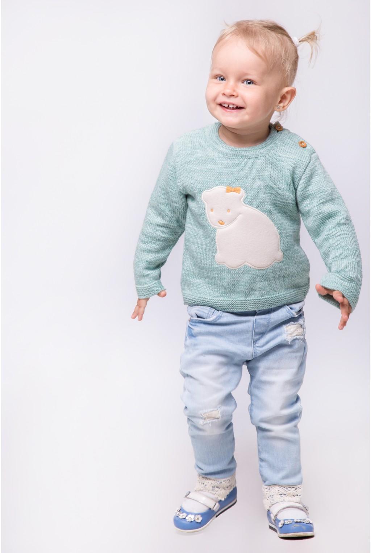 Трикотажный свитер с аппликацией Умка   Зеленый