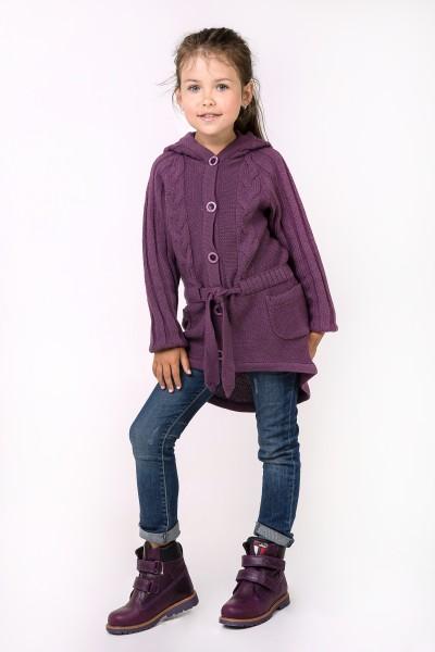 Кардиган-пальто с капюшоном для девочки |Фиолетовый