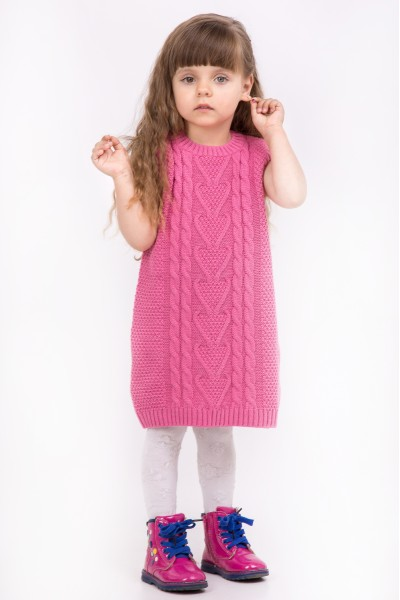 Платье туника без рукавов, крупной вязки   Розовый