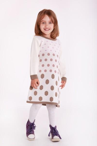 Платье в горошек с цветными манжетами