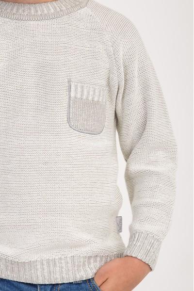 Свитер однотонный с карманом | Серо-Молочный