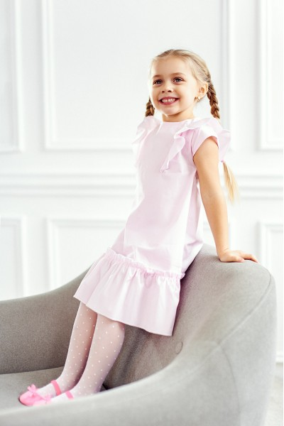 Легкое платье с воланами | Розовый
