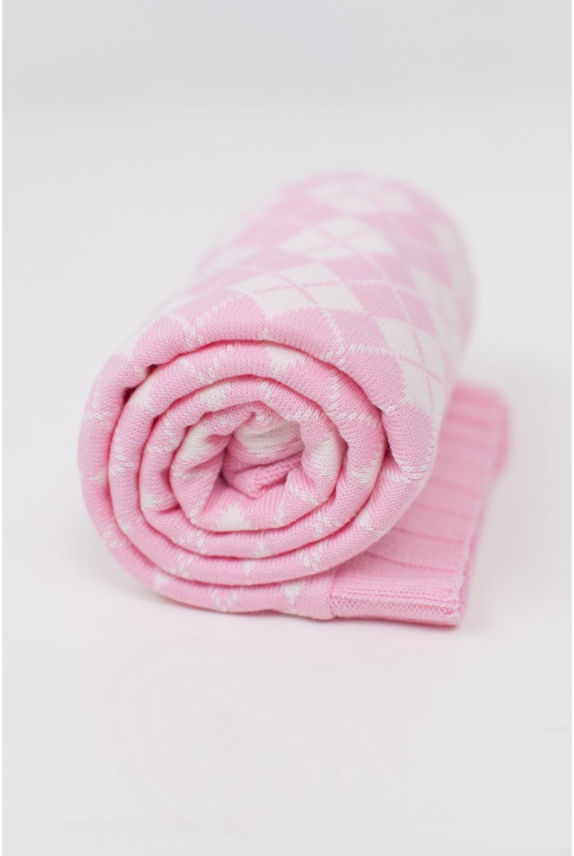Плед с нежными ромбиками | Розовый
