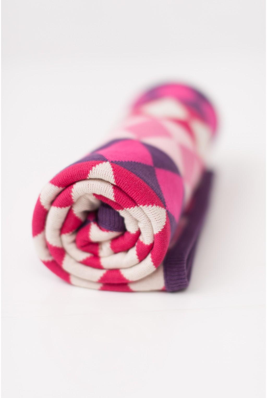 Плед с розово-сиреневыми ромбами | 100x150