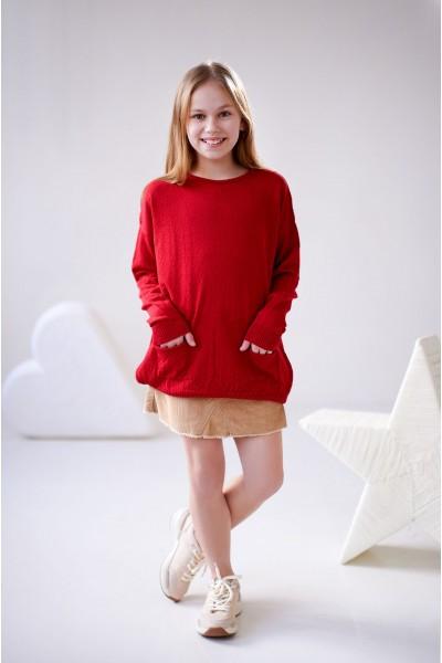 Свитер оверсайз с карманами | Красный