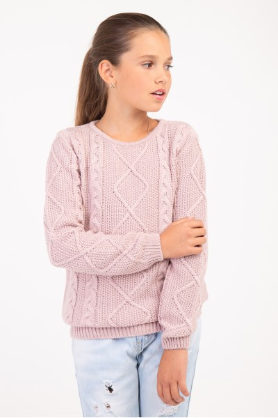 Свитер нежно розовый осенний с косами | Розовый