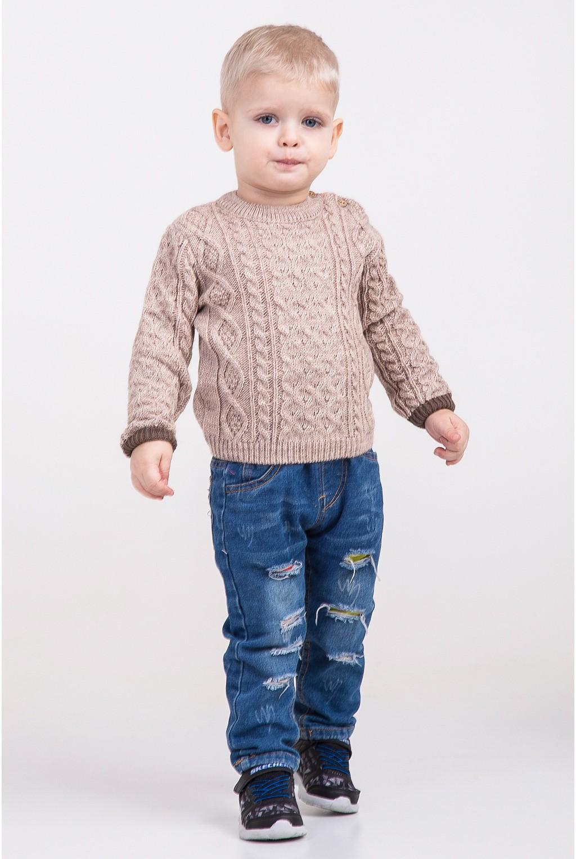 Вязаный свитер с крупным узором   Бежевый