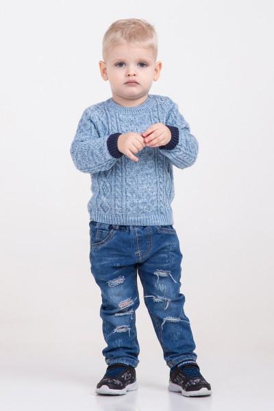Вязаный свитер с крупным узором | Голубой