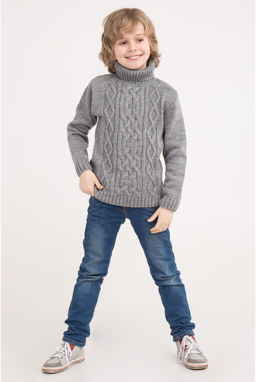 Вязаный свитер под горло с узором коса   Серый