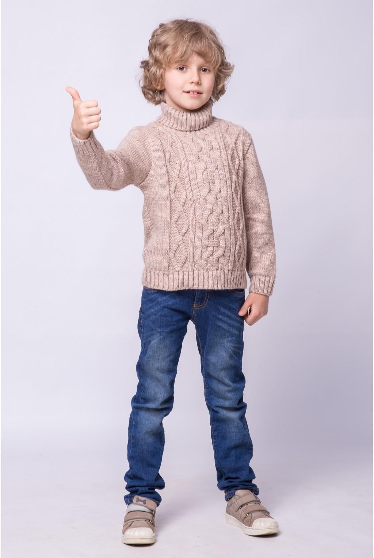 Вязаный свитер под горло с узором коса   Бежевый