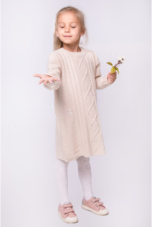 Платье трикотажное с узором косы