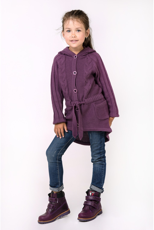 Кардиган-пальто с капюшоном для девочки  Фиолетовый