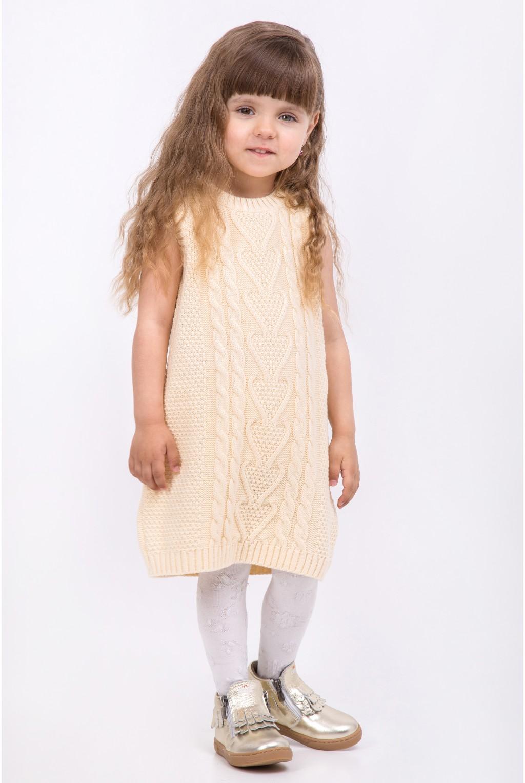 Платье туника без рукавов, крупной вязки | Бежевый