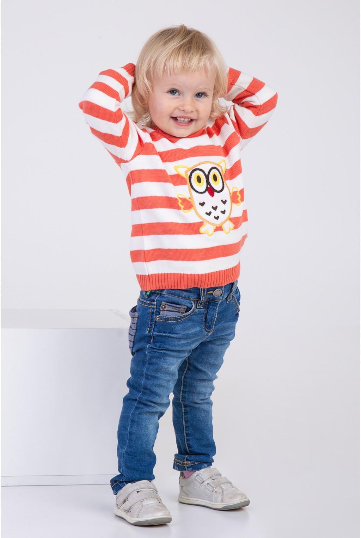 Яркий полосатый свитер с вышивкой совы | Коралл