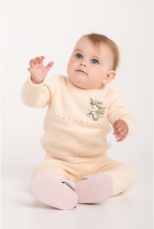 Костюм для малышей с вышивкой единорога | Пудра