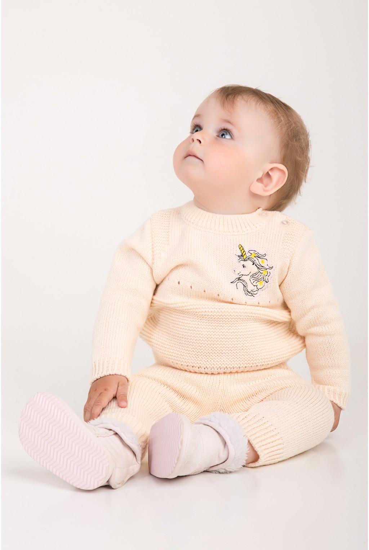 Костюм для малышей с вышивкой единорога   Пудра