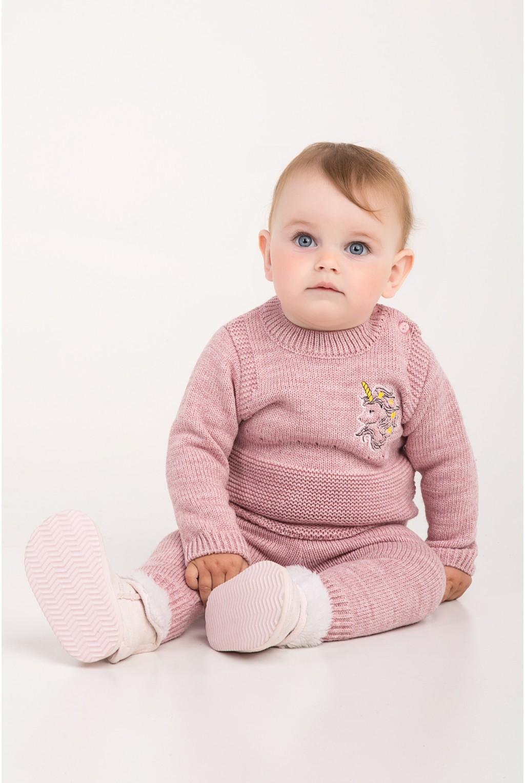 Костюм для малышей с вышивкой единорога | Розовый