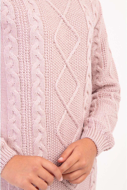 Свитер нежно розовый осенний с косами   Розовый