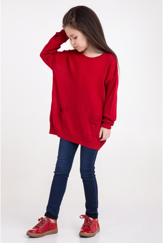 Свитер оверсайз с карманами   Красный