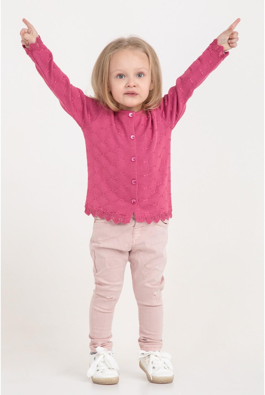 Яркая кофта с ажурной вязкой   Темно-Розовый