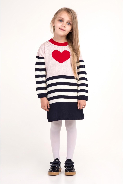 Полосатое платье с красным сердцем